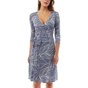Blue-white faux wrap medium dress